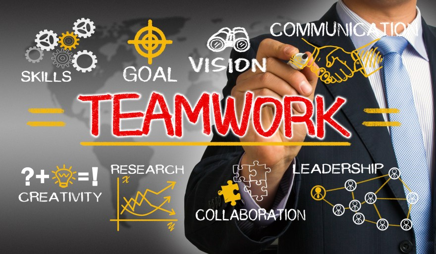 teamwork concept chart with business elements