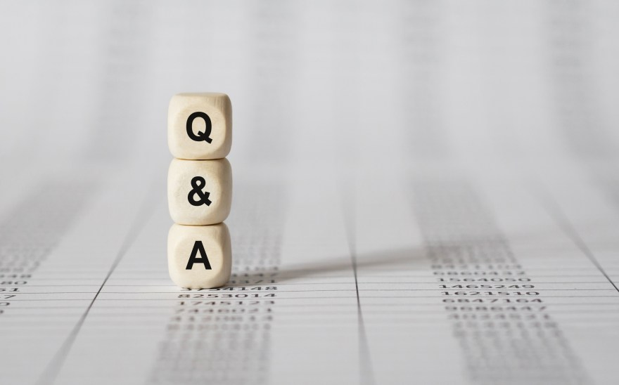 Word Q AND A made with wood building blocks