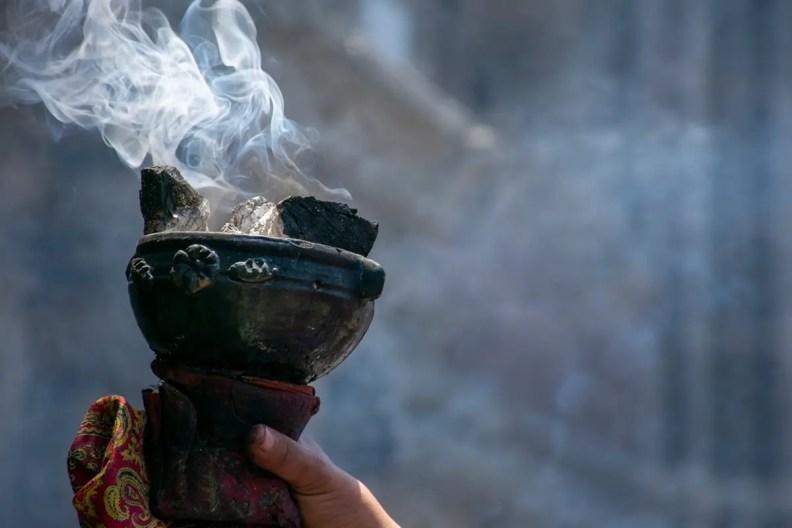 burning copal resin
