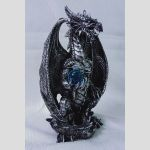 statue 21cm Dragon Holding Blue Ball