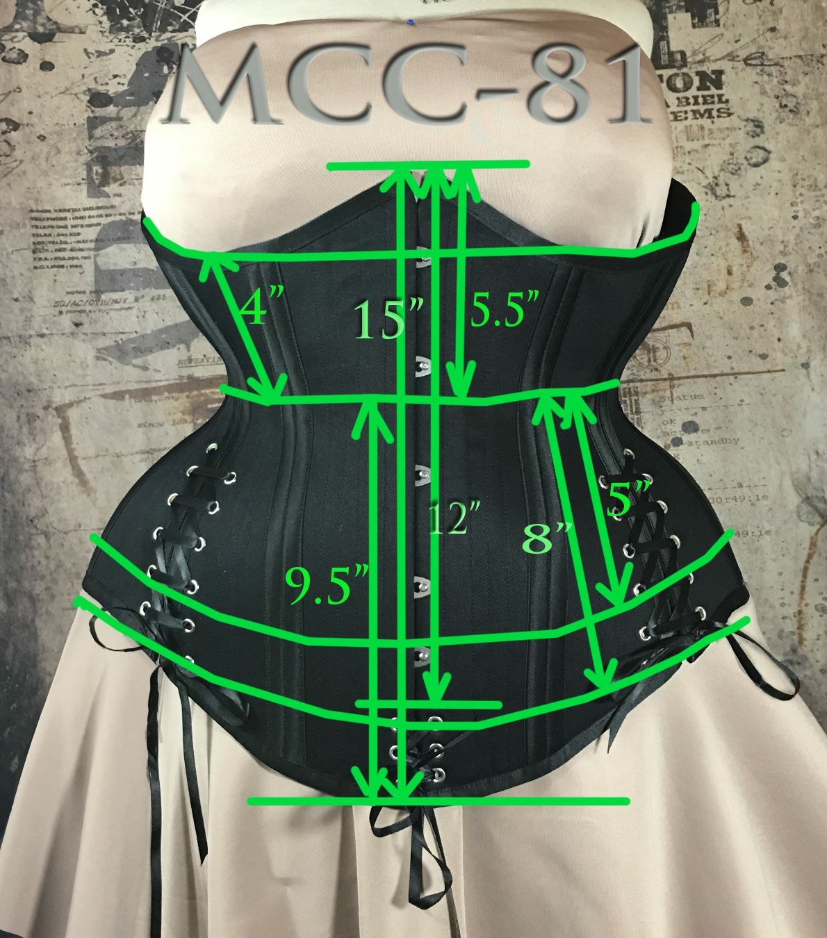 MCC81 Black Cotton Plus Size Corset