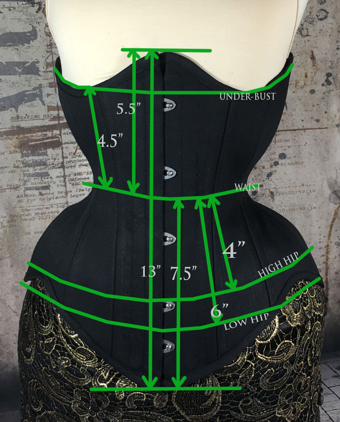 MCC57 Black Cotton Underbust Corset