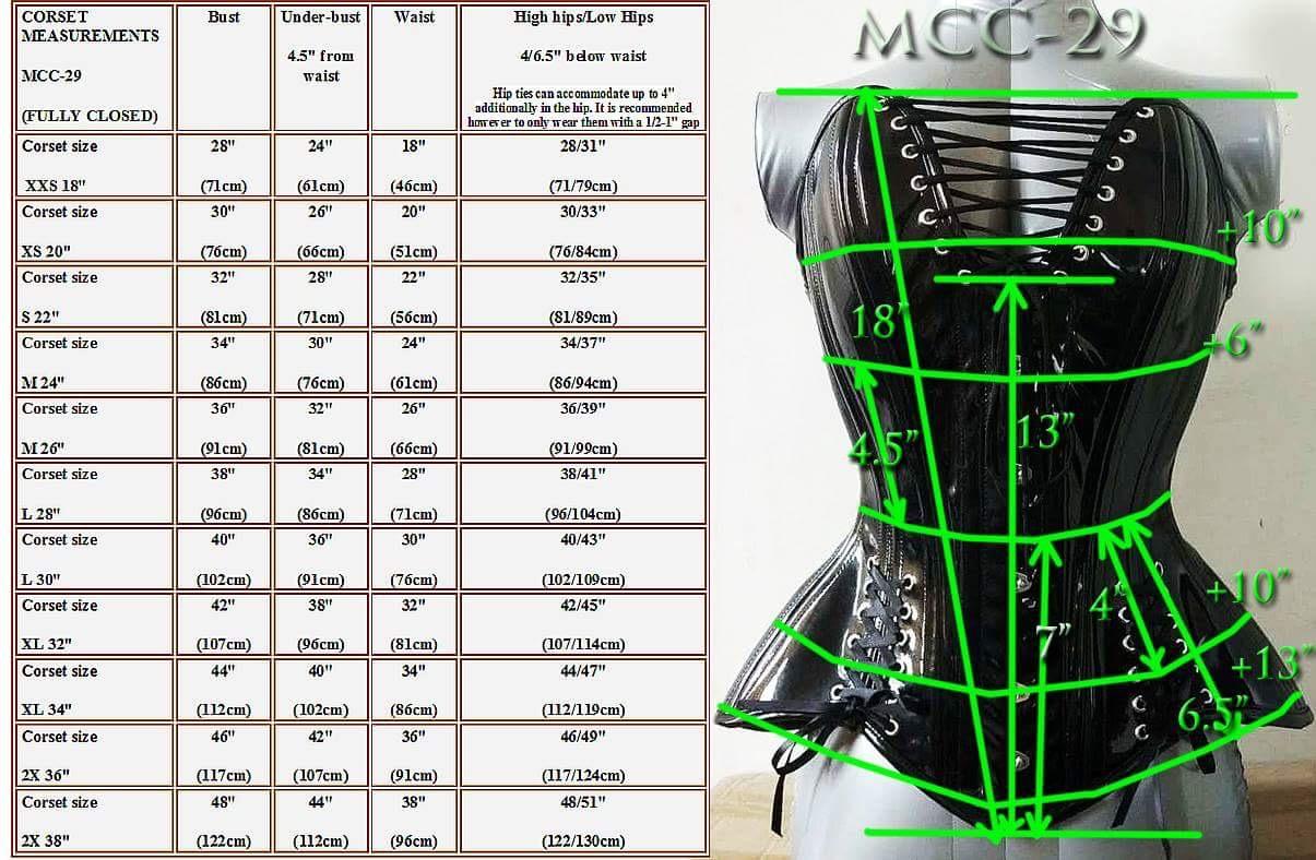 MCC29 Black Metallic PVC Overbust Corset