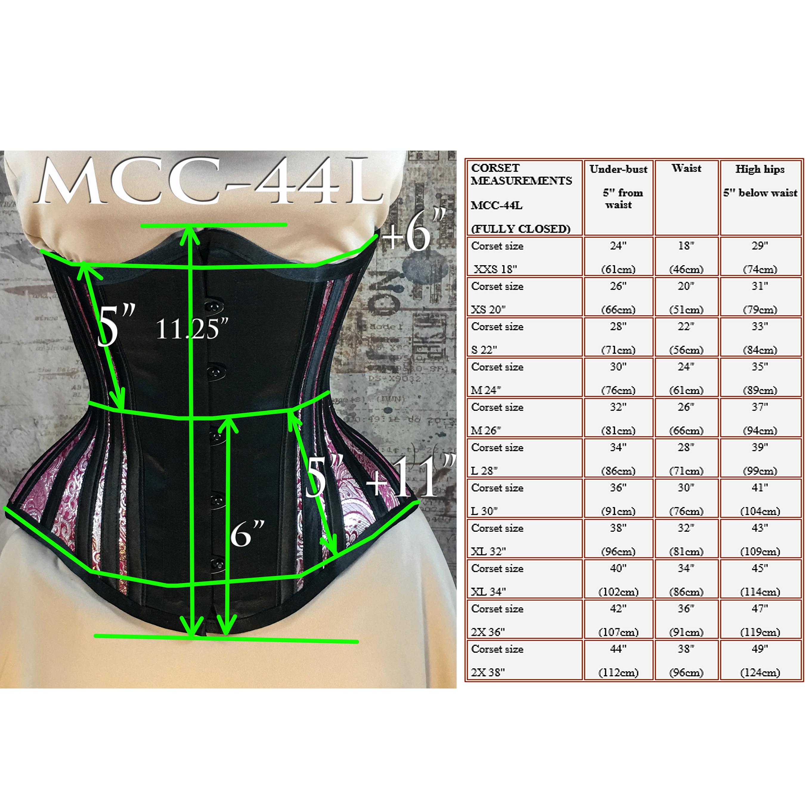 MCC44L Black Satin/Burgundy-Silver Brocade Underbust Corset