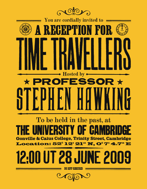 Image result for stephen hawking time travel visitors from the future