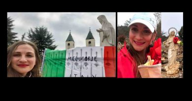 """Medjugorje loves Italy"" A gesture of great affection by a young woman from Medjugorje to Italy."