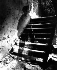 This image was reputably taken during the Civil war showing a deceased soldier walking up stairs from a basement.