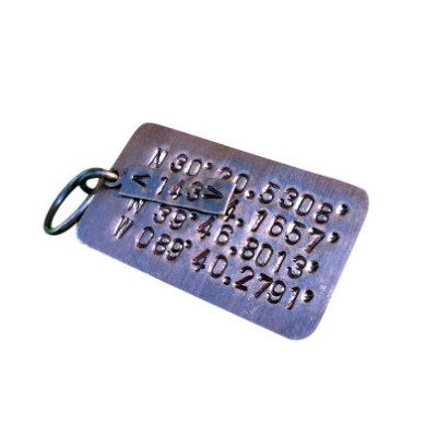 Stamped GPS Keychain with Two Locations