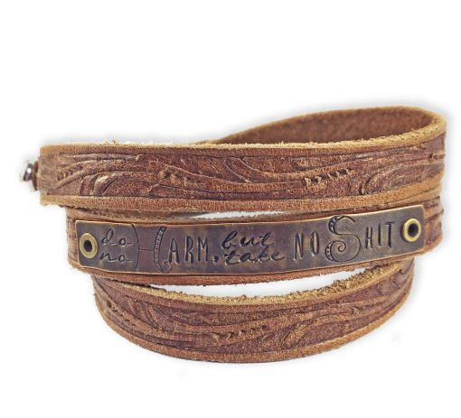 Positive Message Embossed Leather Bracelet