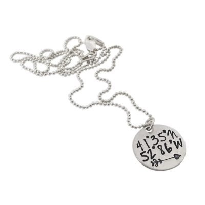 Sterling Latitude Longitude Coordinate Necklace