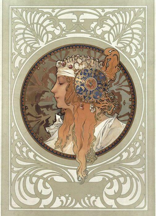 Mucha Femme coiffée et motifs Art Nouveau