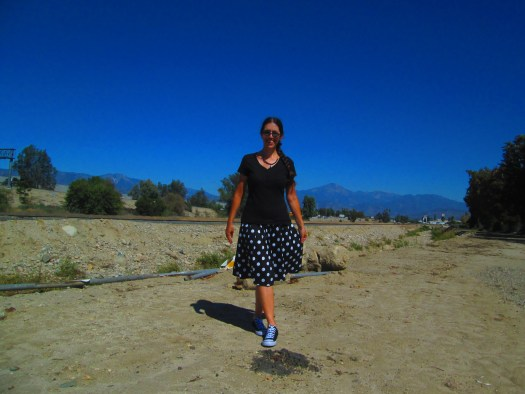 I am wearing the skirt with the San Bernardino Mountains as a backdrop.