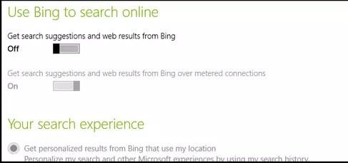dezactivare cautare Bing Windows 8.1
