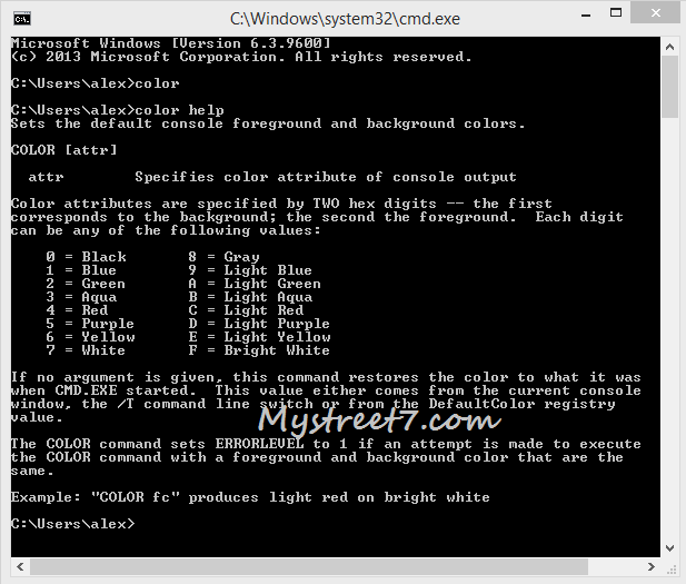 command prompt color help