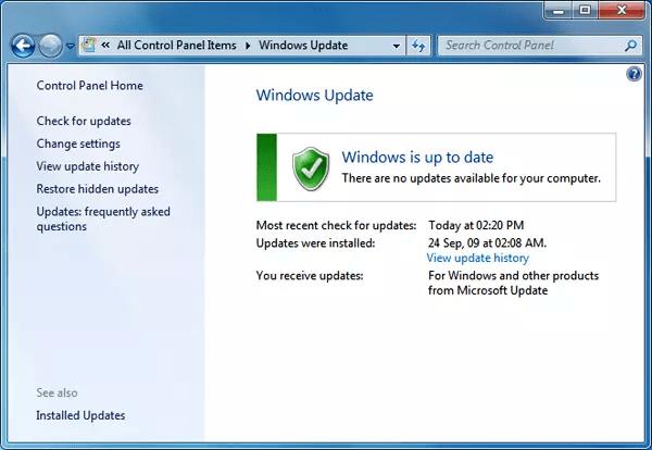 windows update screen