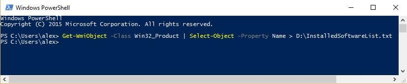 lista aplicatii instalate powershell