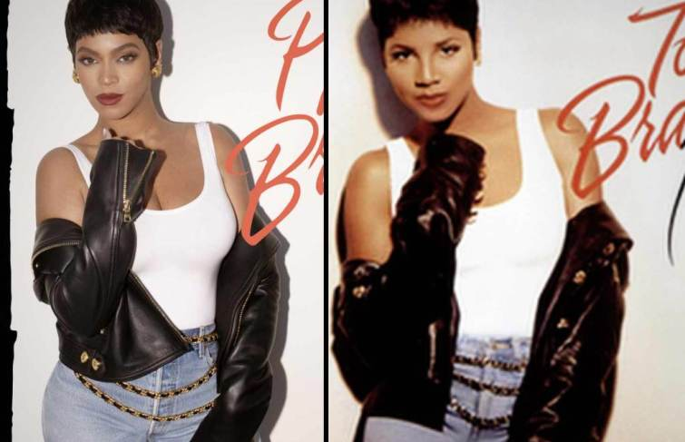 Beyonce In Dark Hair In Homage To Toni Braxton For Halloween