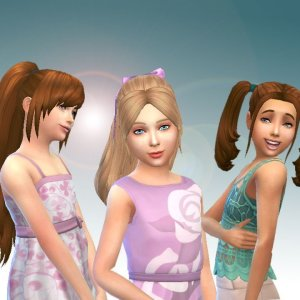 Girls Tied Hairs Pack 3