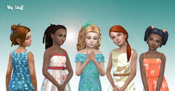 Girls Tied Hairs Pack 7