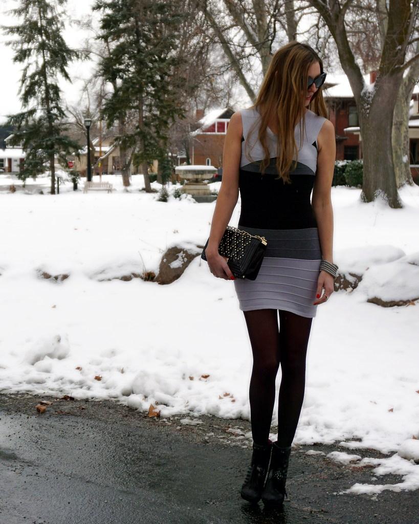 zeagoo gray and black bandage dress