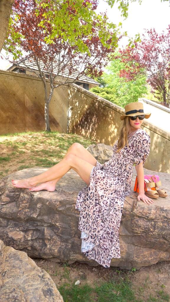 leopard print maxi dress and fedora hat