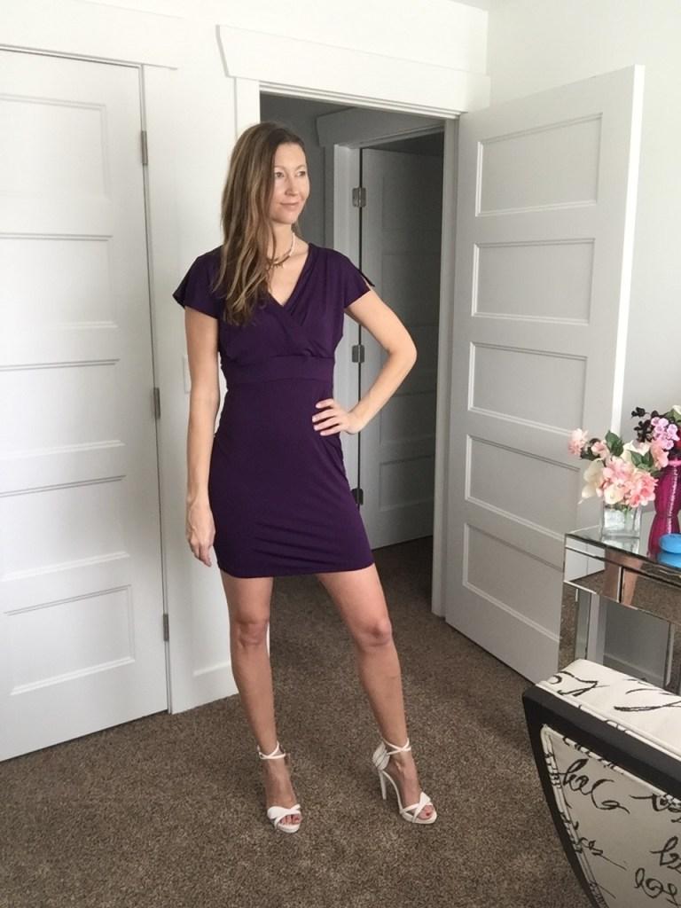 Pretty Purple Sleeve Mini Dress with cute V back