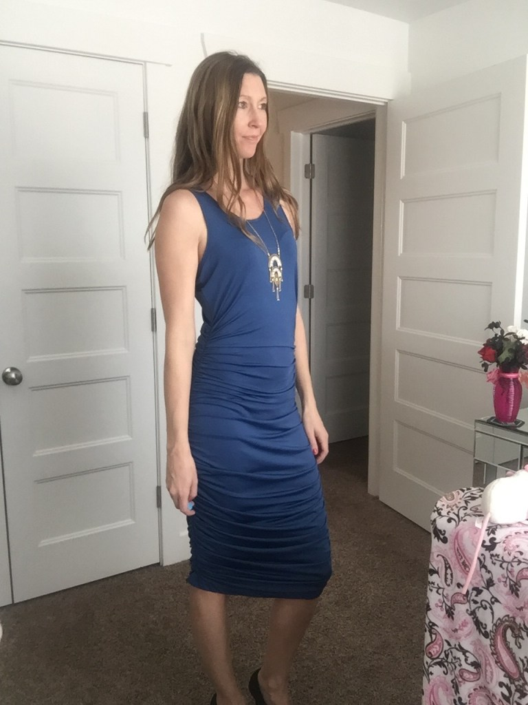 pretty blue rushed over the knee dress