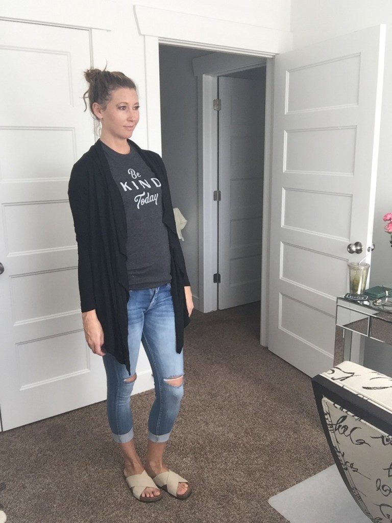 long black cardigan and distressed jeans