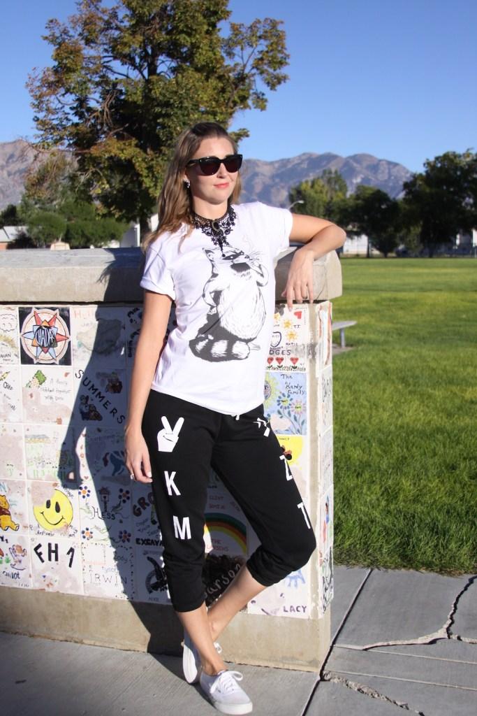 lettered black sweat pants