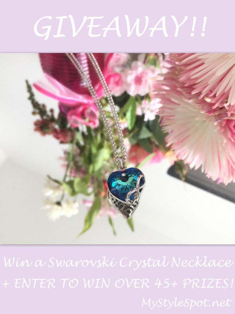 win a swarovski crystal blue heart infinity necklace