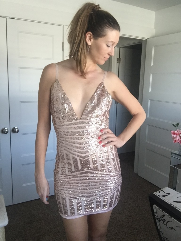 Sexy Low cut Rose Gold Sequin Dress and High Pony