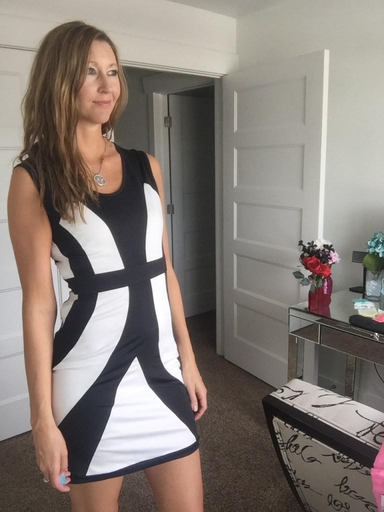 Sexy Graphical Print black and White Mini Dress