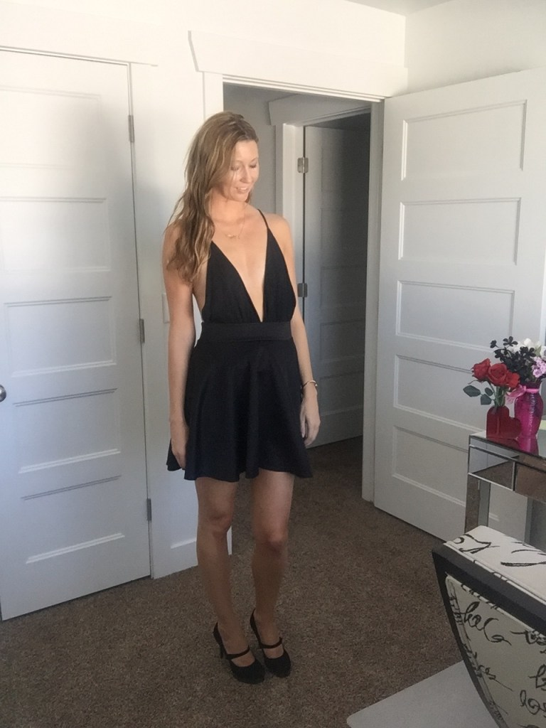 Sexy Low Cut Black Romper
