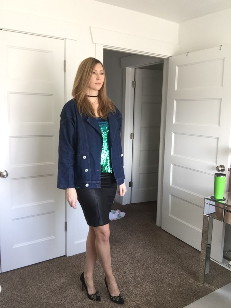 Denim Jacket, Faux Leather Skirt, and Green Sequin Came