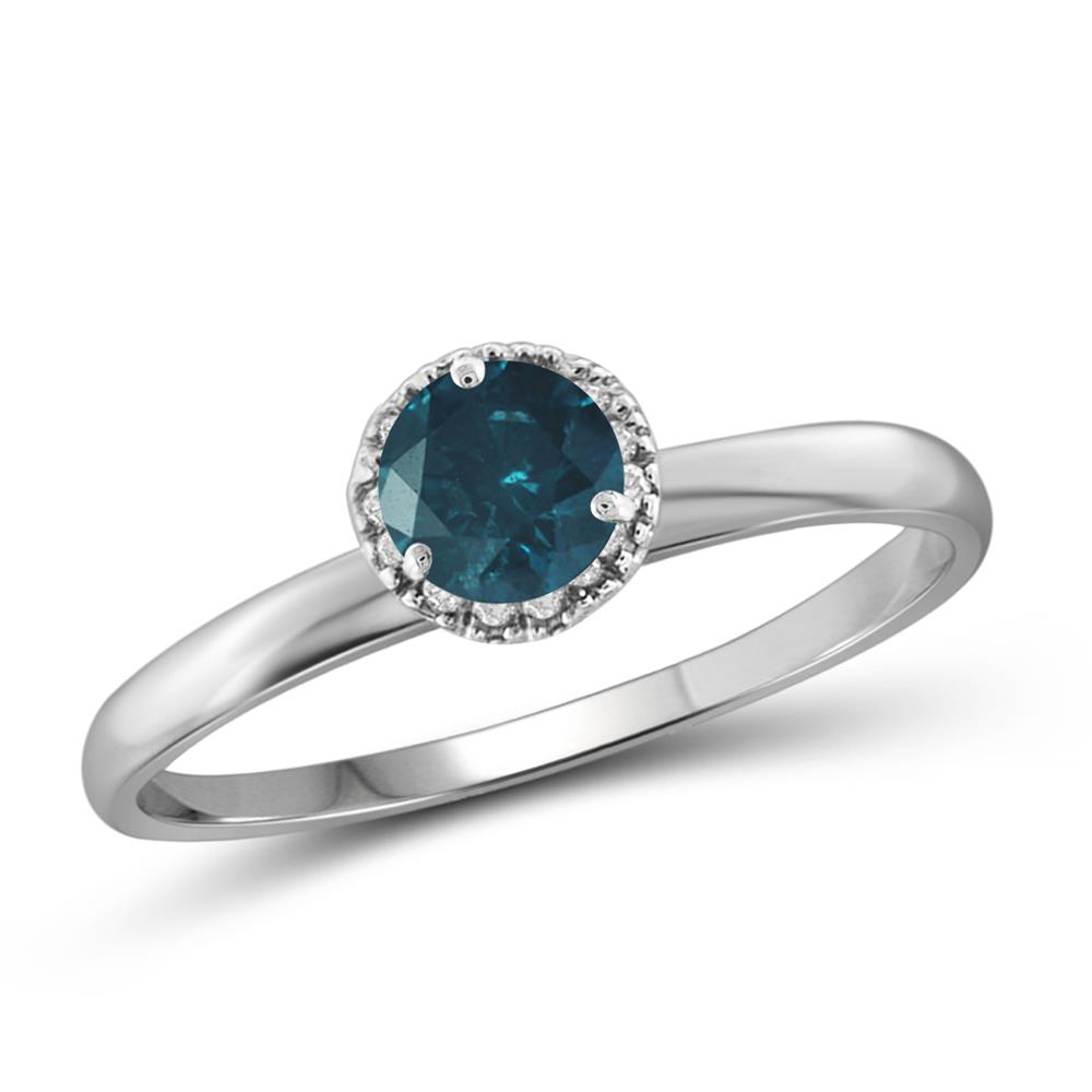 blue and white diamond sterling silver ring