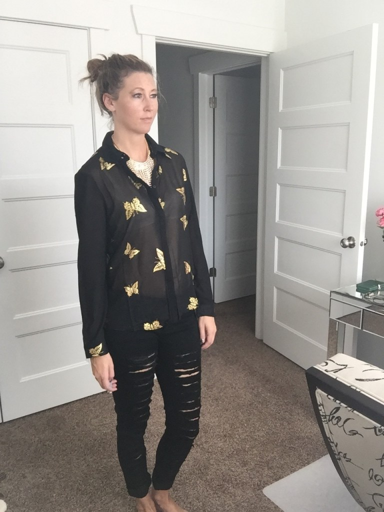 Butterfly Chiffon Blouse and Ripped Black Jeans