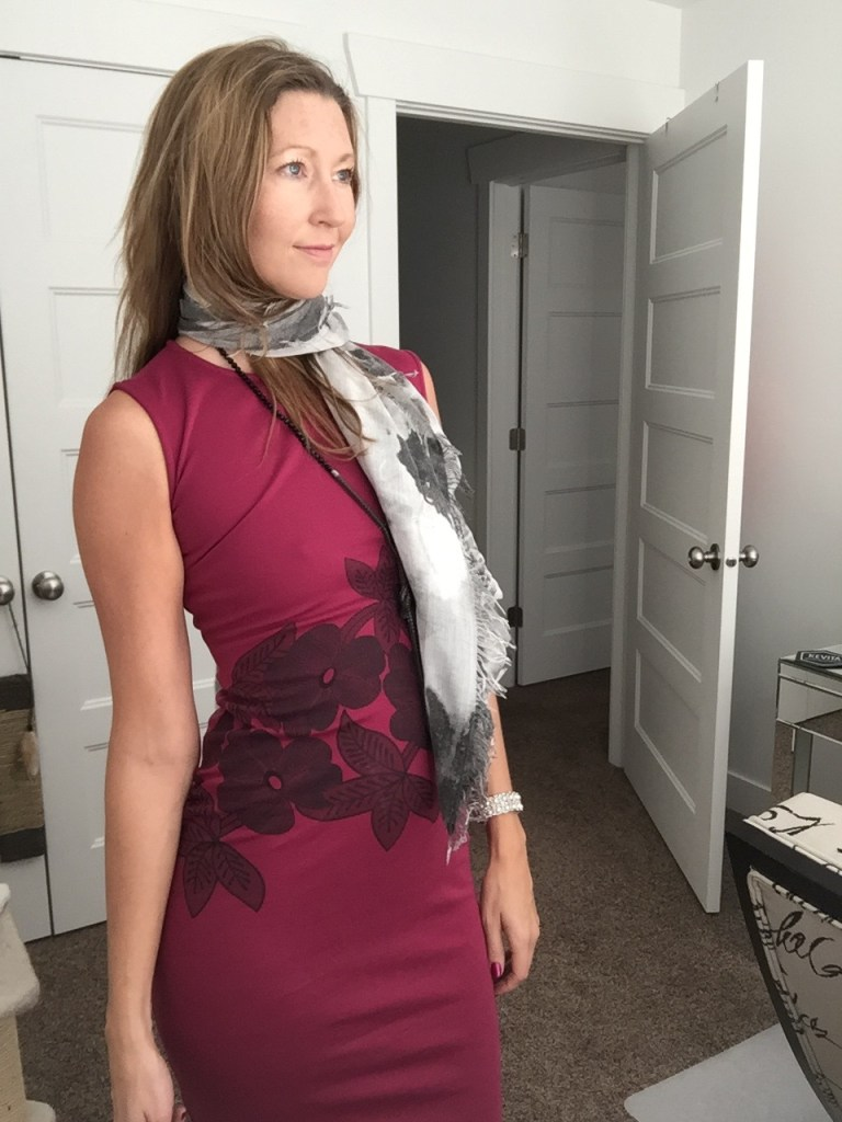 Red Floral Sheath Dress and Gray Floral Scarf