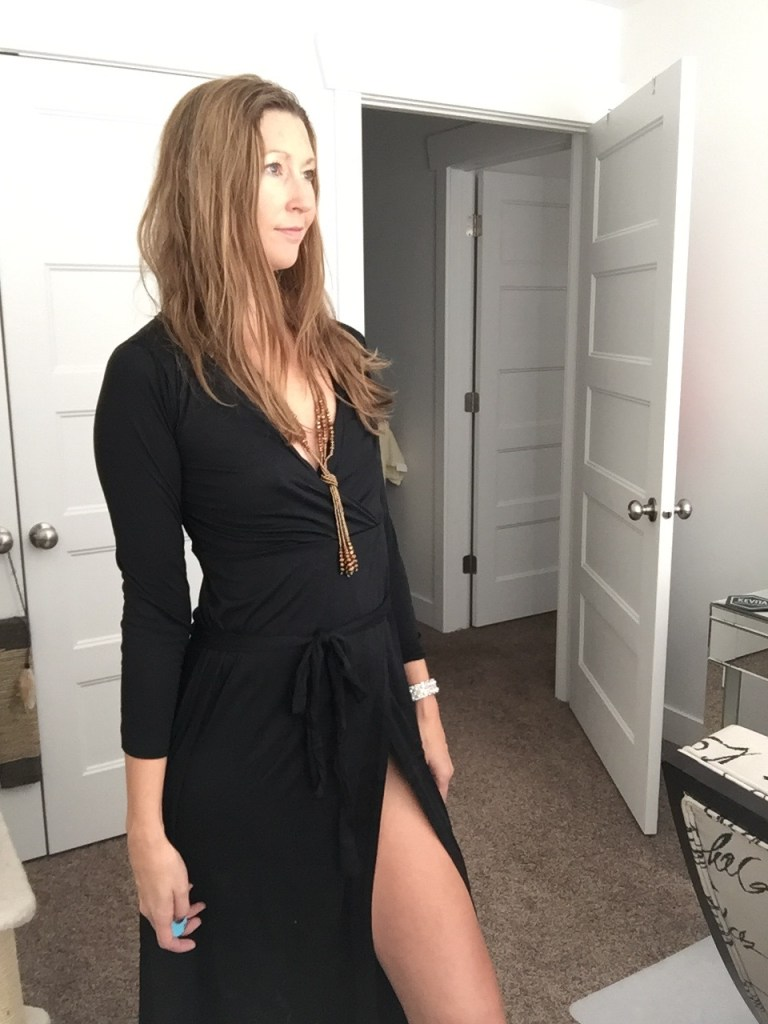 Black Long Sleeved Wrap High Slit Dress