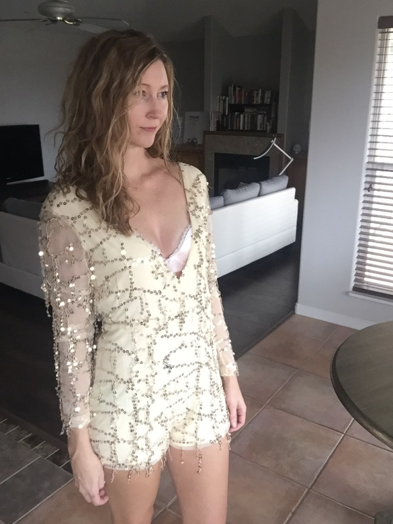 Woman in Sequin Long Sleeve Beige Romper