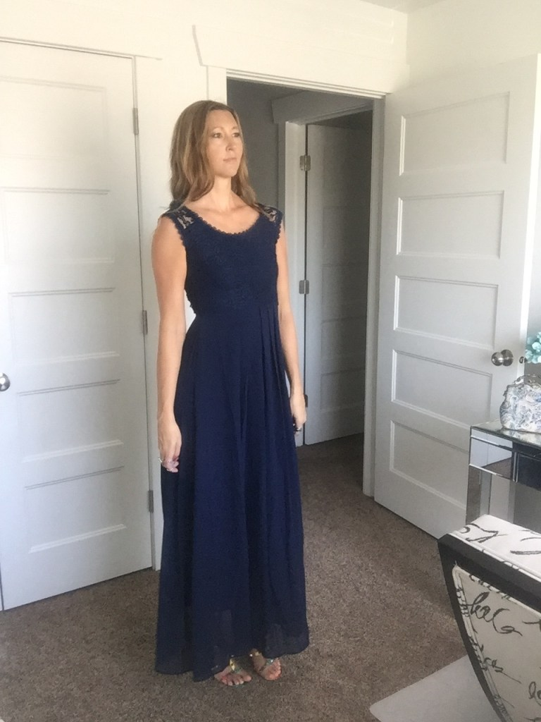 woman in sleeveless Blue Lace Maxi Dress