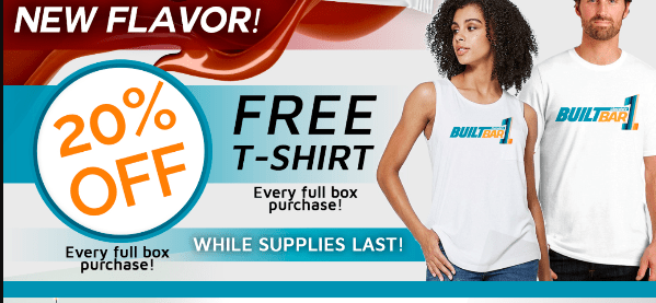 Get 20% OFF YOUR yummy protein bars + a FREE Tshirt!