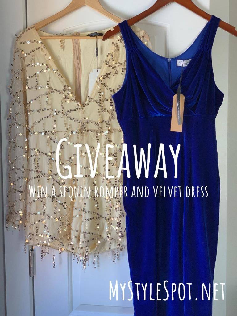 Enter to win a chic sequin romper and gorgeous ladies blue dress