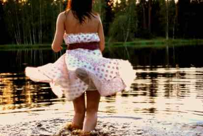 While she was dancing in the water