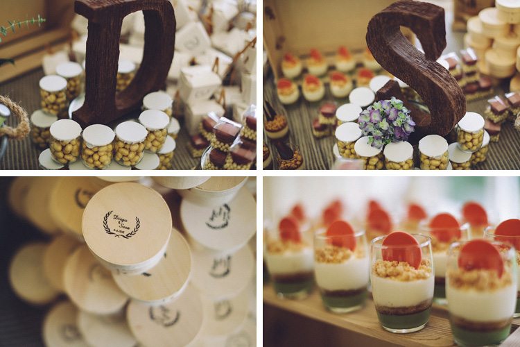 Wedding dessert bar with bride and groom wood initials. Gorgeous wedding in Spain | More on: http://mysweetengagement.com/gorgeous-wedding-in-spain - Photo: David Fernández