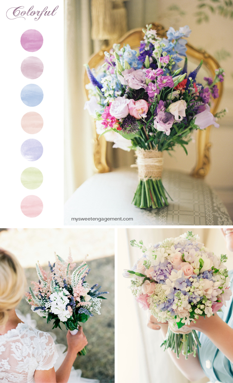 8 Wedding Bouquet Color Inspirations - Colorful flowers | More on: http://mysweetengagement.com/50-shades-of-flowers-wedding-bouquet-color-inspiration