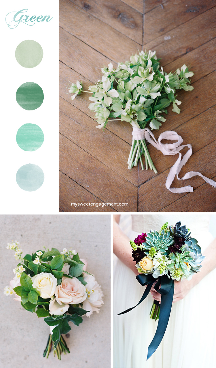 8 Wedding Bouquet Color Inspirations - Green flowers | More on: http://mysweetengagement.com/50-shades-of-flowers-wedding-bouquet-color-inspiration