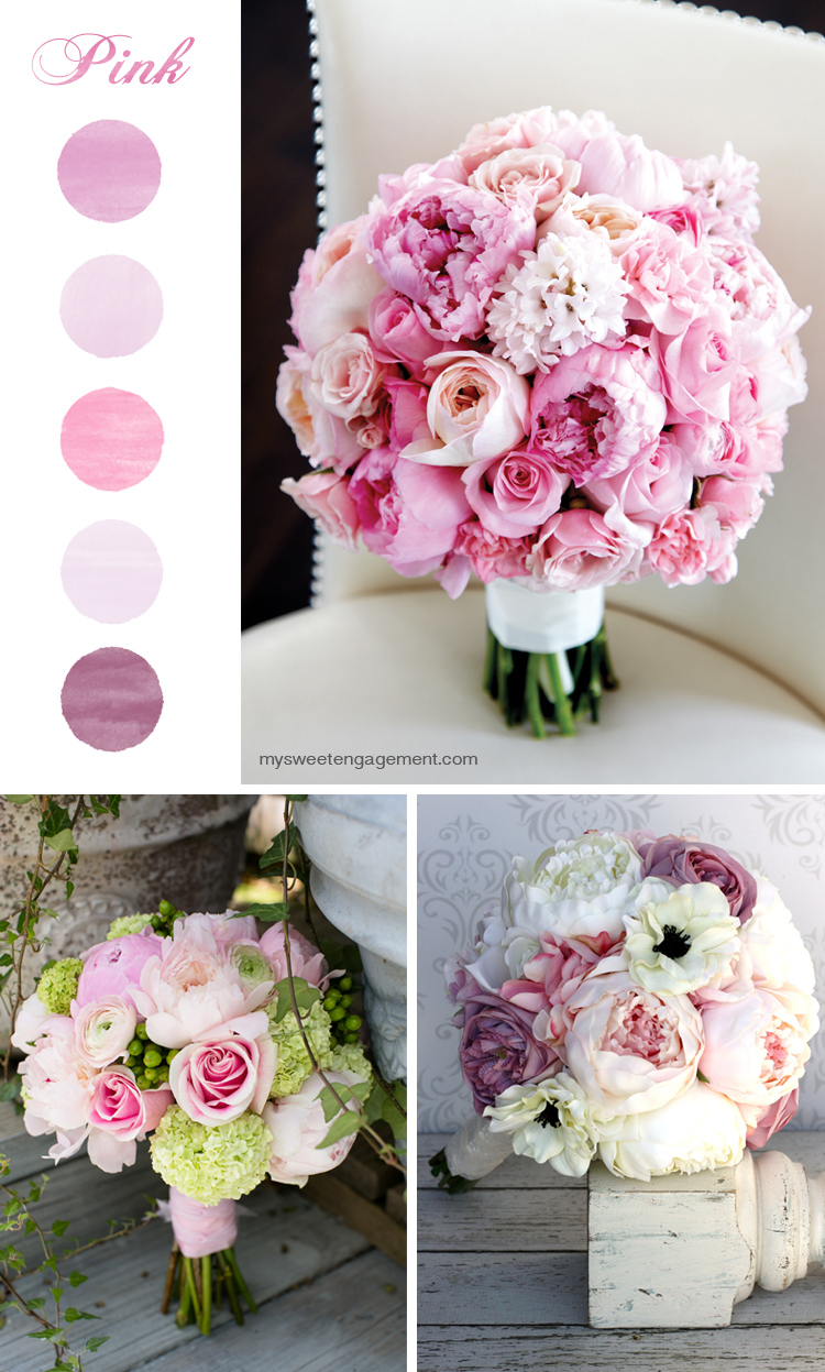 8 Wedding Bouquet Color Inspirations - Pink flowers | More on: http://mysweetengagement.com/50-shades-of-flowers-wedding-bouquet-color-inspiration