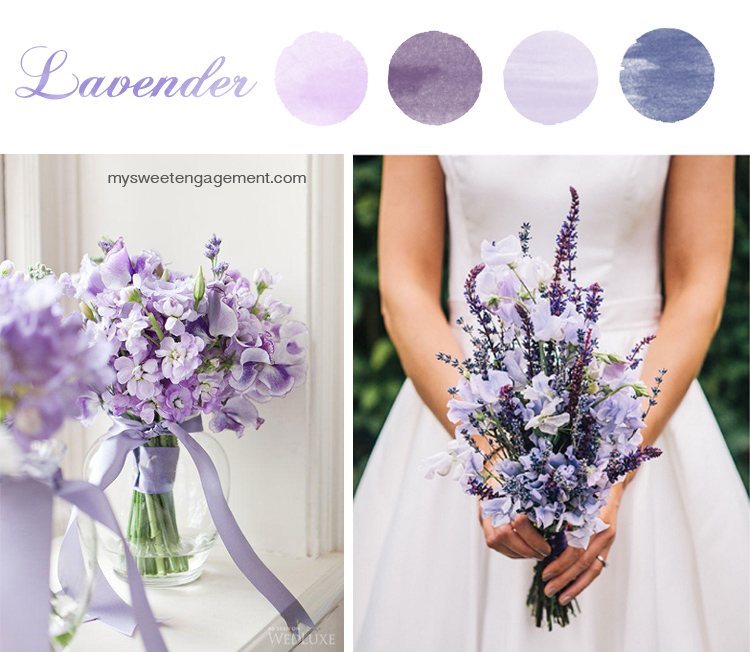8 Wedding Bouquet Color Inspirations - Lavender flowers | More on: http://mysweetengagement.com/50-shades-of-flowers-wedding-bouquet-color-inspiration
