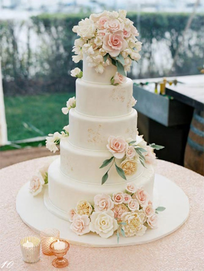 Classic wedding cake with beautiful floral topper | See more: http://mysweetengagement.com/15-extraordinary-wedding-cakes-for-all-wedding-styles