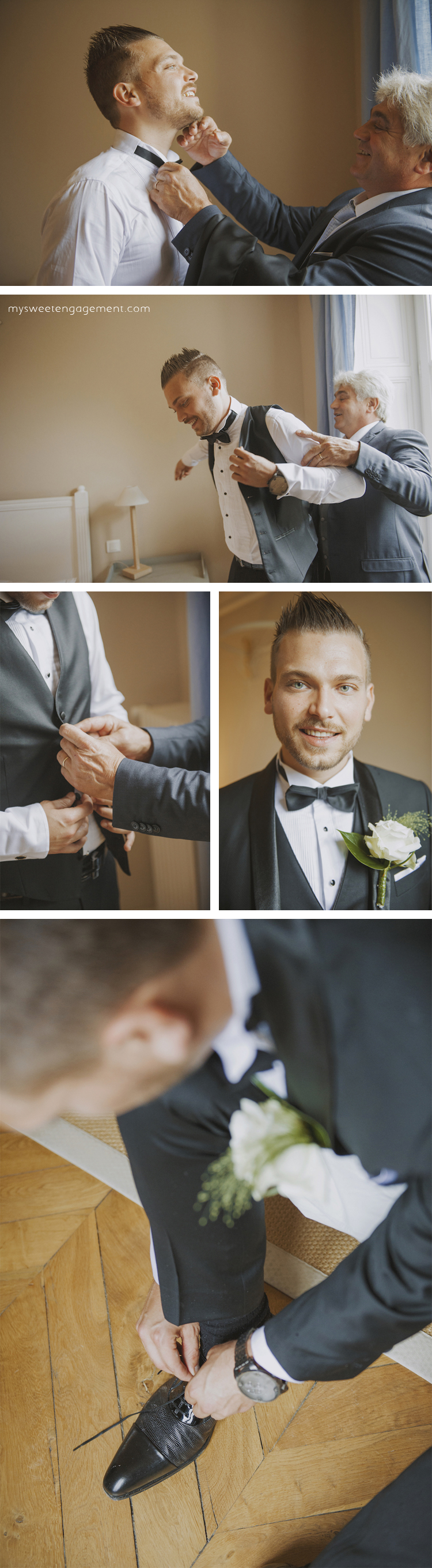 groom and his dad getting ready - bow tie - boutonniere - man vest and suit - groom's shoes - wedding blog - my sweet engagement